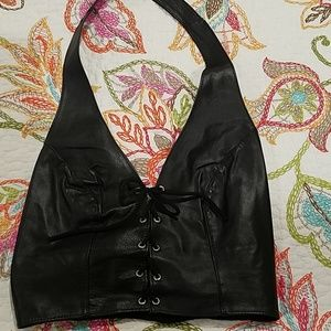 Tops - Black leather halter top